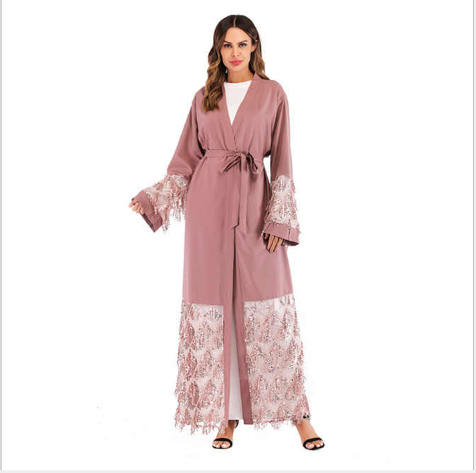 2386f4b6ec8 ... Muslim Sequins Mesh Nida Abaya Maxi Dress Cardigan Long Robe Gowns  Jubah Kimono Ramadan Arab Islamic