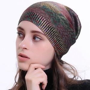 Image 2 - Geebro  Womens Bronzing Cashmere Beanies Hat Casual Spring Wool Knitted Hats Ladies Metal Multicolor Print Beanie Cap DQ414N