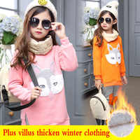 Hot sell Kids girls Winter plus villus warm clothing sets Fashion Princess fox Pattern Cartoon style Outfit Children clothes