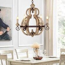 Ecolight, candelabro Vintage de madera con 6 luces, iluminación Retro de hierro, lámpara de vela para comedor, sala, cafetería, Bar E12/E14