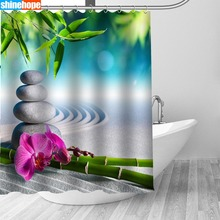 Zen Stone Bamboo Waterproof Shower Curtains Polyester Bath Screen Curtain Mildewproof Bathroom Shower Curtain