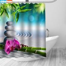 Zen taş bambu su geçirmez duş perdeleri Polyester banyo ekran perdesi küf geçirmez banyo duş perdesi