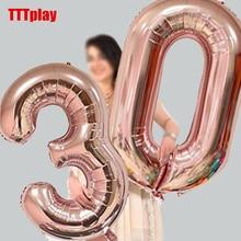 32 дюйма большое количество воздушных шаров Baby Shower наполненные гелием для воздушных шаров, золотого и серебряного цвета: розовый, красный, синий, цифр Globos для дня рождения или свадьбы для воздушных шаров
