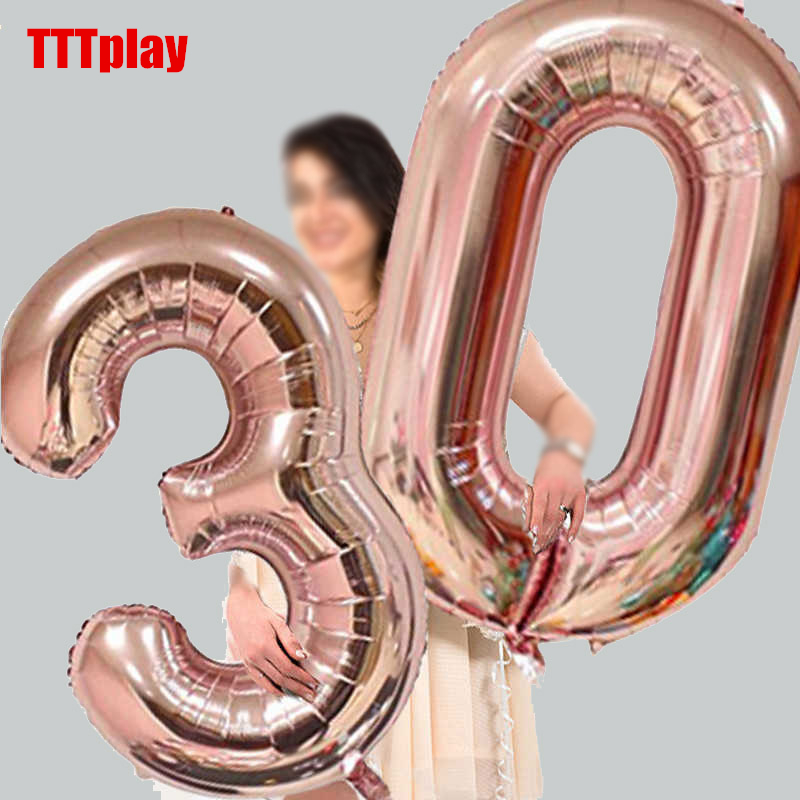 32 Inch Big Number Balloons Baby Shower Helium Foil Ballon Gold Silver Pink Red Blue Digit Globos Birthday Party Wedding Balloon(China)
