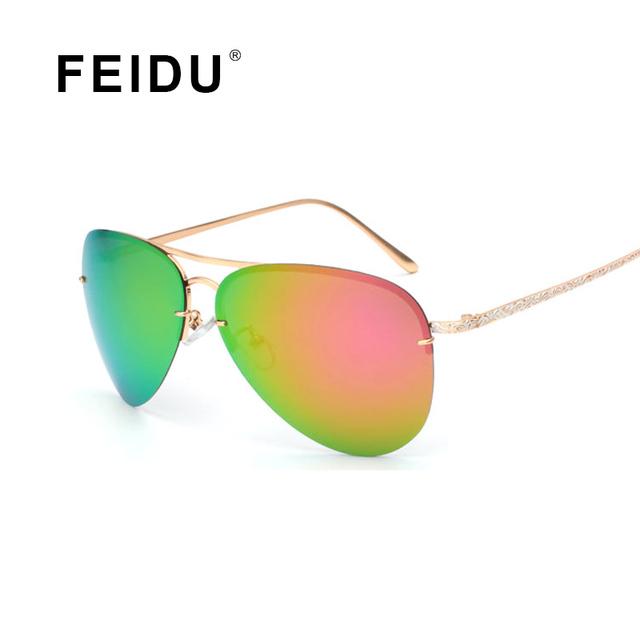 FEIDU Piloto Gafas de Sol de Las Mujeres Polarizadas de Moda 2016 Patrón de Aleación de Templos Diseñador de la Marca gafas de Sol de Las Mujeres Gafas De Sol Feminino