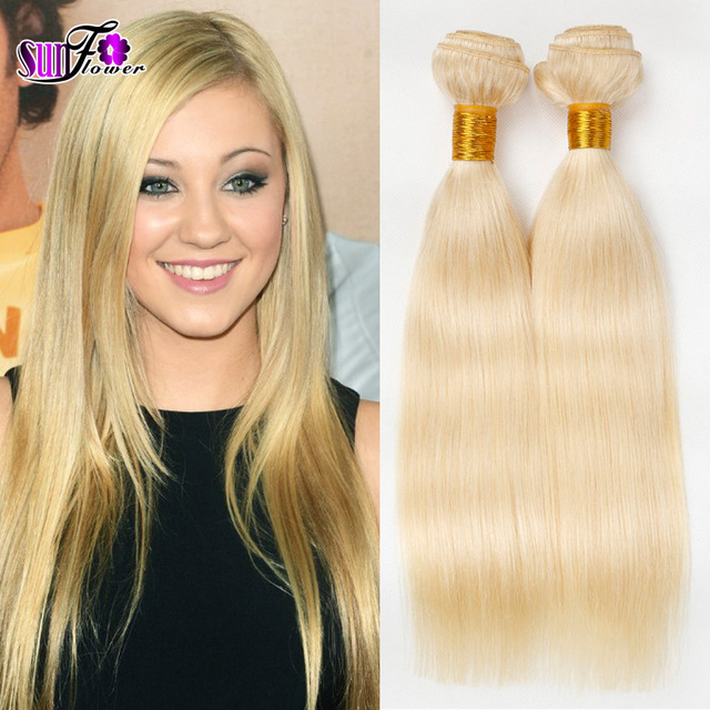 Real Brazilian Blonde Hair Extensions 613 Blonde Human Hair Weave