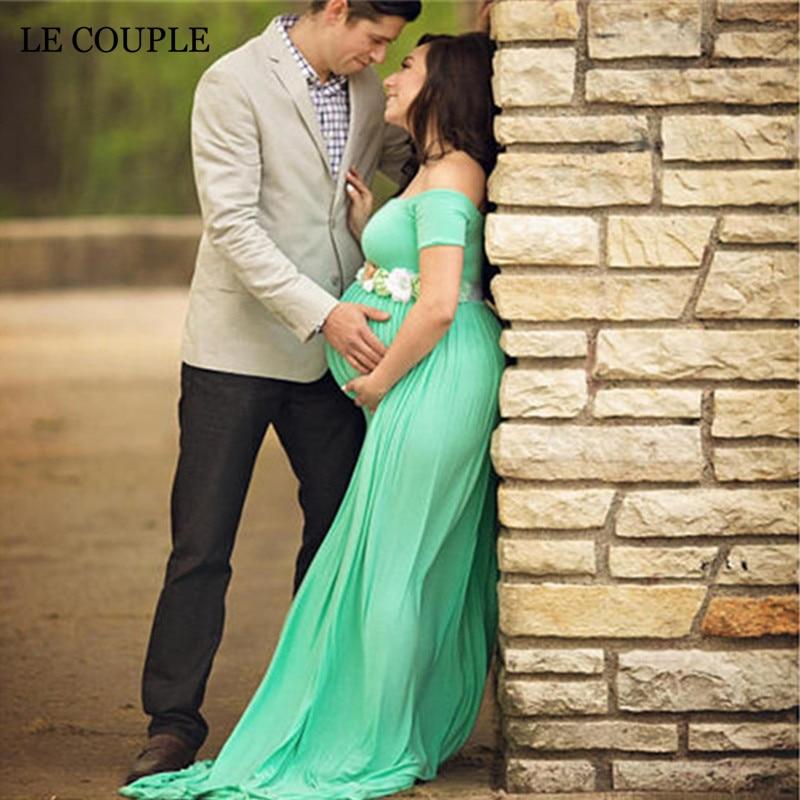 Le Couple Stretchy Cotton Matenrity Photography Props Dress Slash Neck Cotton Jersey Maternity Photo Shoot Maxi Dresses drawstring cocoon jersey maxi dress