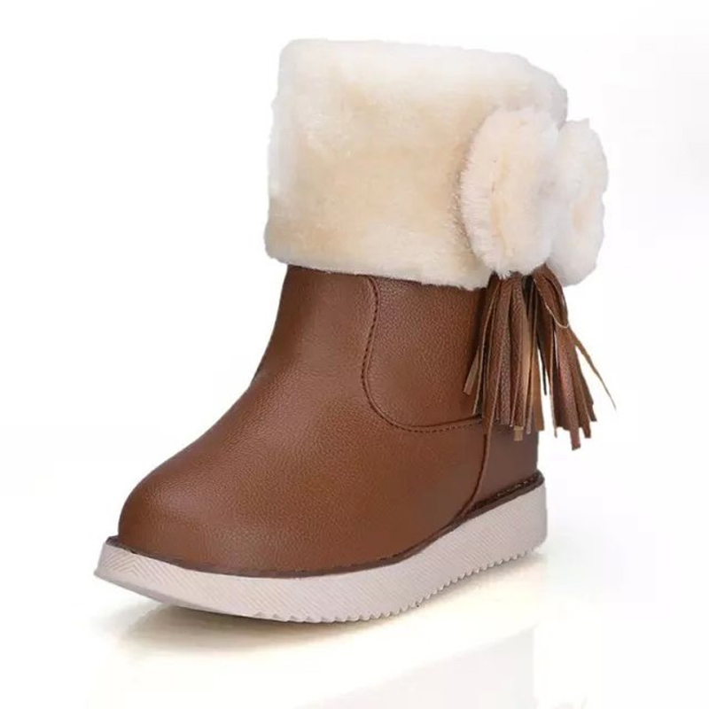 Vogue of new fund 2016 winter thick sweet bowknot Non-slip low cylinder bottom warm short fur snow boots women
