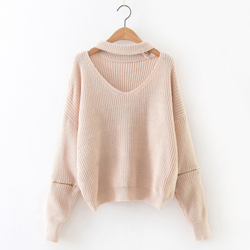 2017 New Sweater Women Pullovers Fashion v-neck Long Lantern Sleeve Lace Up Knitted Cashmere Jumper Christmas Sweater