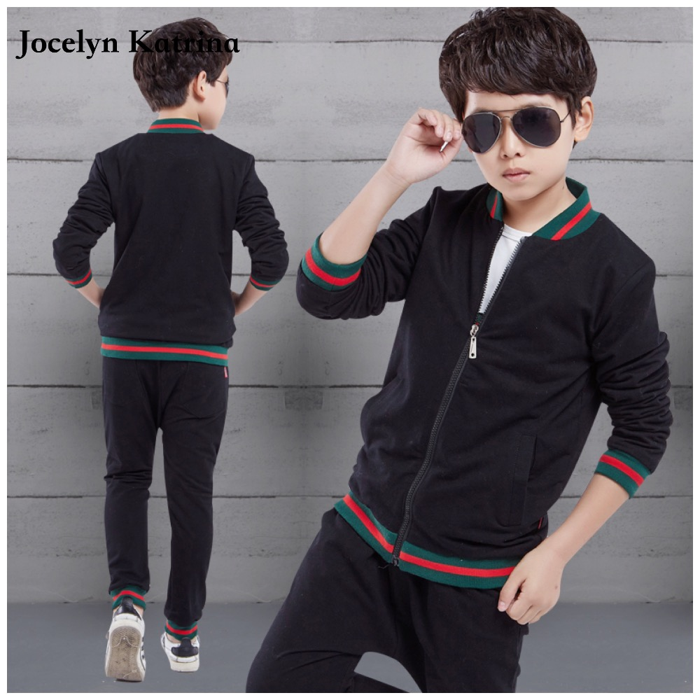 Jocelyn Katrina 2017 spring teenage boys clothing set zipper sports clothes for boys children tracksuit kids sport suit 3pc kids tracksuit boys clothing 4 13t children s sports suits hooded children clothing suit for boys teenage girls clothing fashion