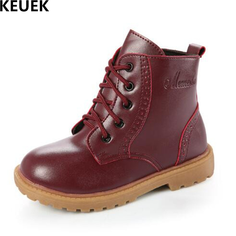 2018 New Autumn/Winter Children Shoes Boys Ankle Boots Girls Baby Lace-Up Flat Martin boots Kids Genuine Leather Snow Boots 018 new designer children cowboy boys boots knitting fabric upper ankle boots kids orthopedic sport gym shoes for girls baby boots