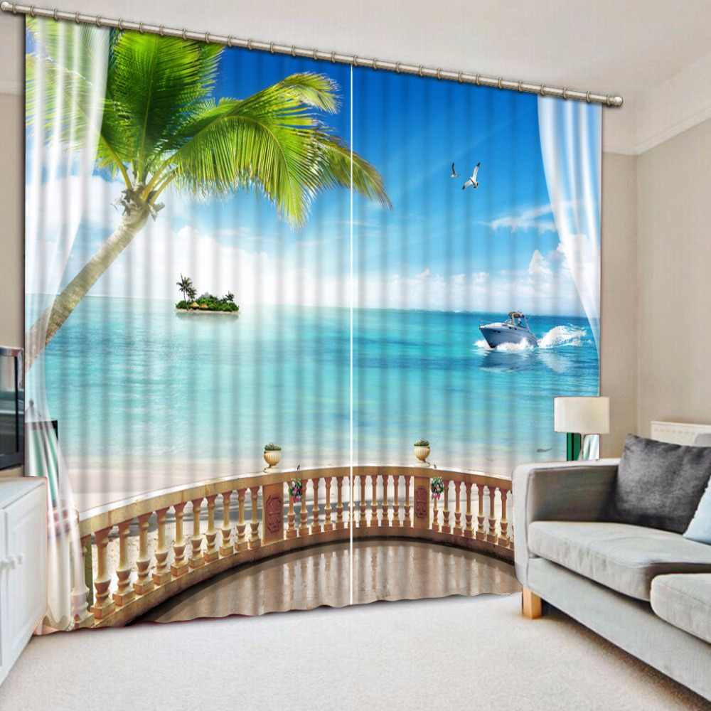 Home Decor Blackout 3D Curtains Sheer Window Curtain Living Room Bedroom sea landscape Photo Wall Home Tapestry Drapes Cortinas