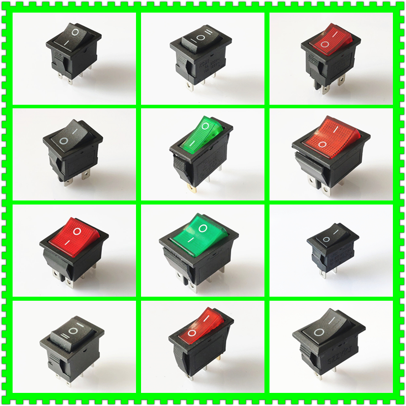 SPST KCD 3PIN 6PIN On/Off Square Boat Rocker Switch DC AC 16A/250V Car Dash Dashboard Plastic Switch Dropshipping Free Shipping