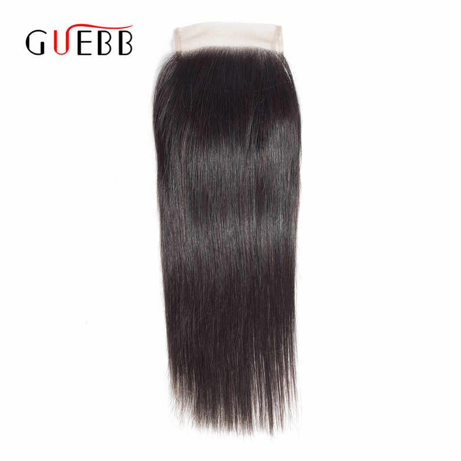 GUEBB бразильские прямые волосы для наращивания бесплатно/средний/три части кружева закрытие натуральный цвет человеческих волос не Реми бесплатная доставка