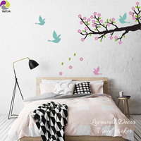 150cmx100cm Large Size Tree Bird Wall Sticker Living Room Sofa Branch Animal Leaves Wall Decal Bedroom