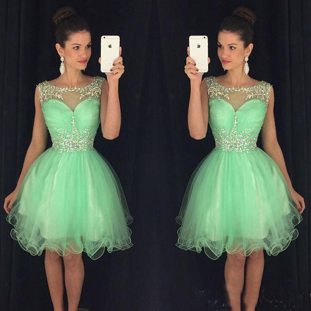 Green Short Homecoming Dress Sweet 16 Off Shoulder Tulle Sequin 8