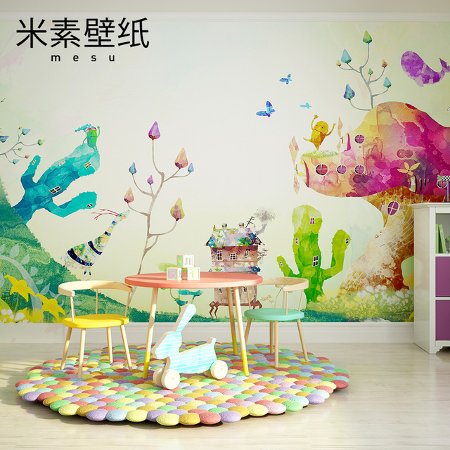 2017 Photo Wallpaper Element Children Wall Painting S Bedroom Personality Cartoon Mural Warm Lovely Dream