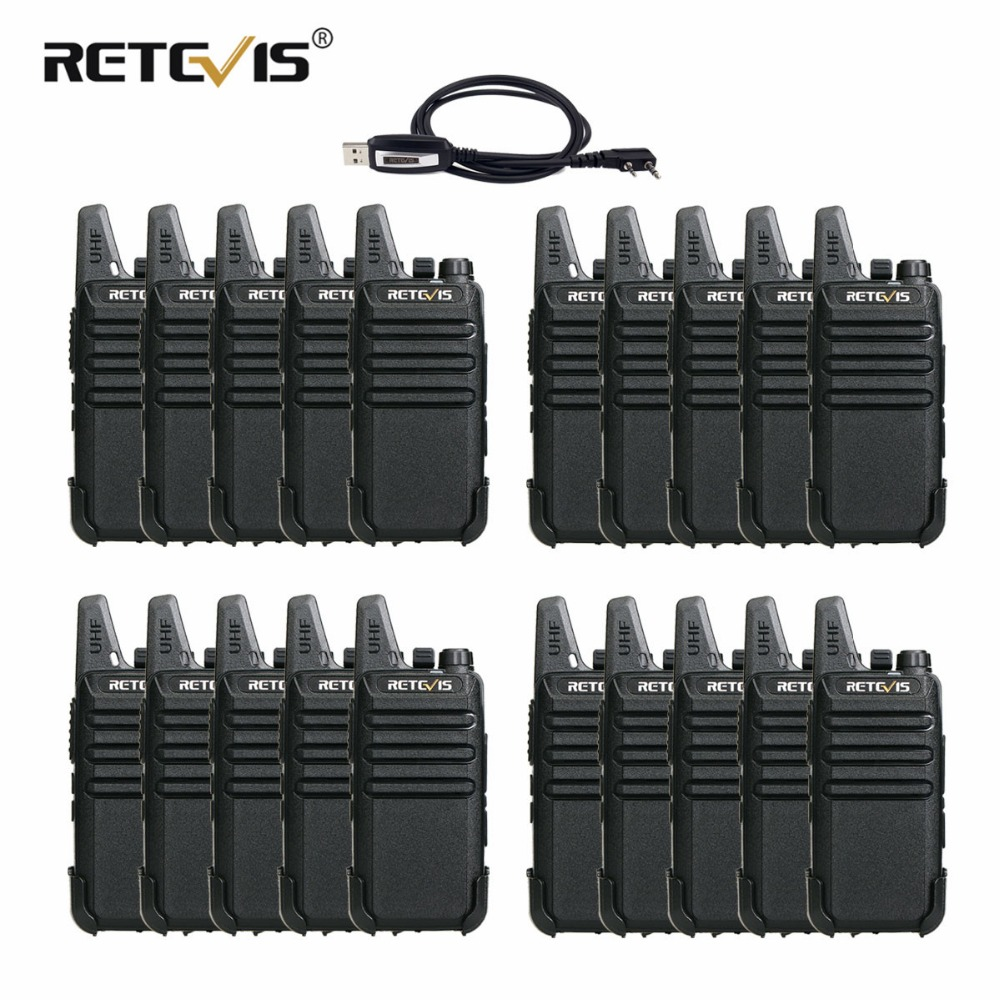 20pcs Retevis RT22 Mini Walkie Talkie 2W UHF VOX Scan CTCSS/DCS Monitor TOT Frequency Portable Radio Set Handy Walkie-Talkie RU