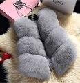 De lujo Faux Fur Coat Chaleco Sin Mangas de Las Mujeres Elegantes Chalecos Chaqueta Chaleco 2017 de la Moda Otoño Invierno de Las Mujeres Abrigo De Piel chaleco