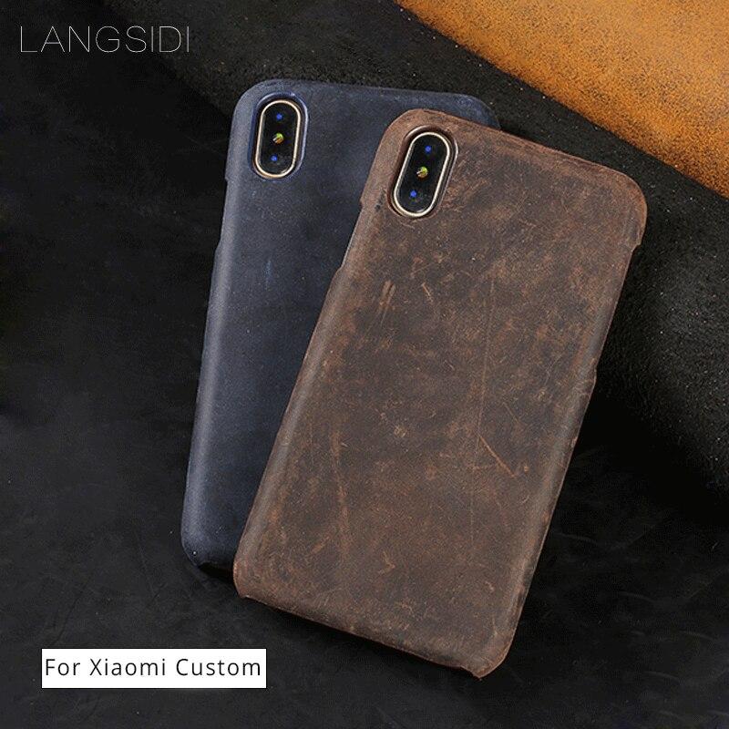 LANGSIDI Genuine Leather Case for Xiaomi M6 Plus Luxury Retro Real Crazy Horse Leather Handmade Craft Custom Back Cover