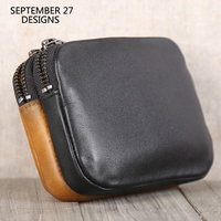 Double Zipper Coin Purses First Layer Cow Leather Change Money Bag Panelled Small Coin Pouch Genuine Leather Unisex Mini Wallets