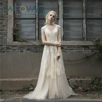 Vintage Lace Boho Wedding Dress Robe De Mariage Cap Sleeves Lace Wedding Dresses 2017 Plus Size