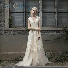 2018 Винтаж Кружево свадебное платье плюс Размеры Короткие рукава Длинные свадебные платья Robe De Мари Boho платье Vestido De Noiva de Renda