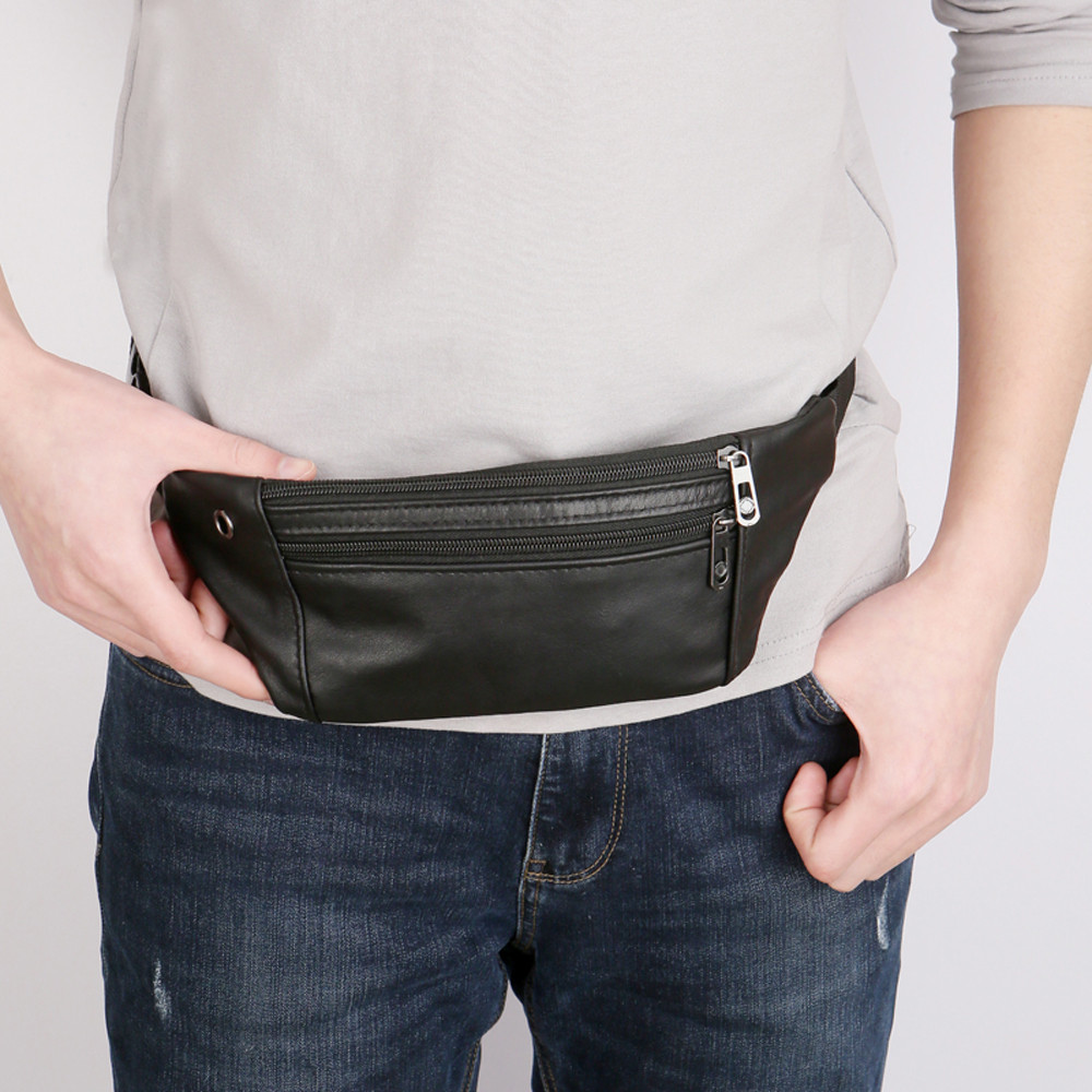 Waist Bag Mens Waist Pack Leather Chest Bags Fanny Pack Phone Bag Pouch Bolosa Multi-function Bag Packs With Headphone Hole
