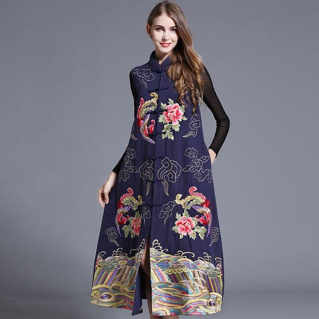 Высокое Качество 2016 Новый Осень Зима Ретро женская Китайская Народная Стиль Тяжелые Красочные Вышитые Плюс Размер Свободные Длинные Жилеты куртка