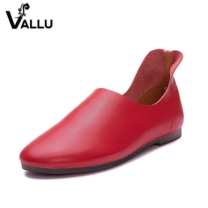 2018 VALLU Women Flats Genuine Leather Moccasins Round Toes Ballet Flats Shoes Comfort Soft Slip On Loafers цена