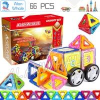 66pcs/set 3D DIY Magnetic Blocks With Car Wheels Building Blocks TOY 3D Brain Training ABS plastic magnets Designer Toys Gifts