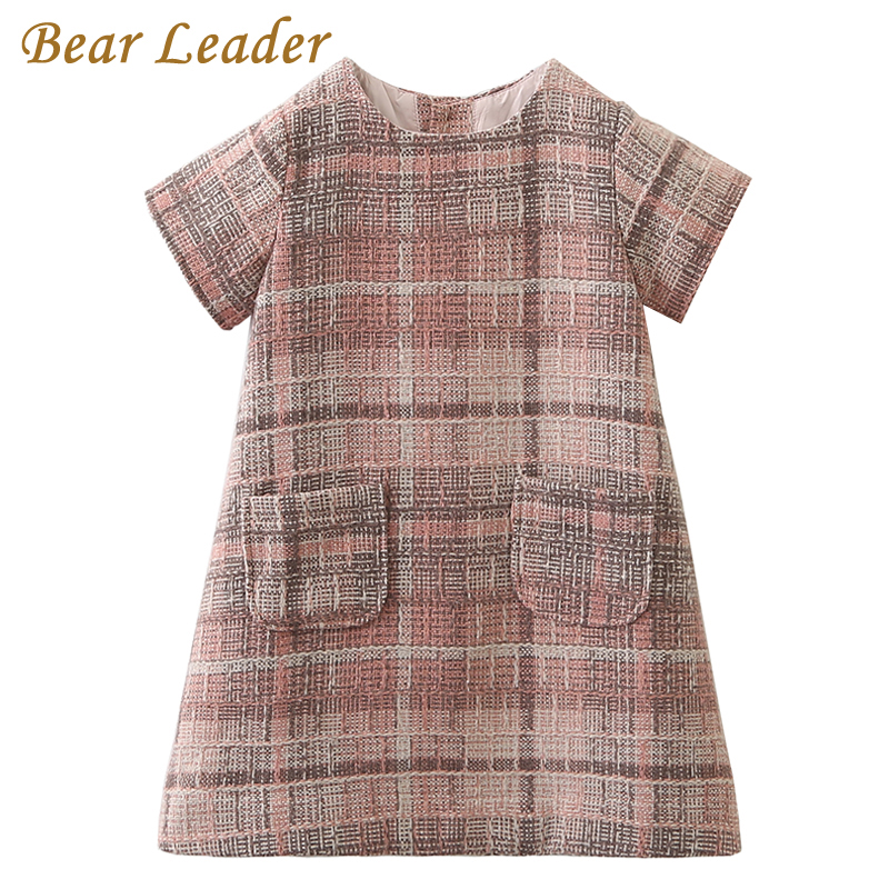 Bear Leader Girls Dress 2017 Brand Autumn Girls Clothes O Neck Plaid Pocket Design For Children