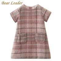 Bear Leader Girls Dress 2017 Brand Autumn Girls Clothes O Neck Plaid Pocket Design For Children