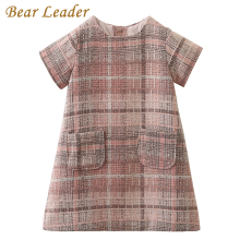 Bear Leader Girls Dress 2017 Brand Autumn Girls Clothes O-neck Plaid Pocket Design for Children Clothing 3-7Y Princess Dresses