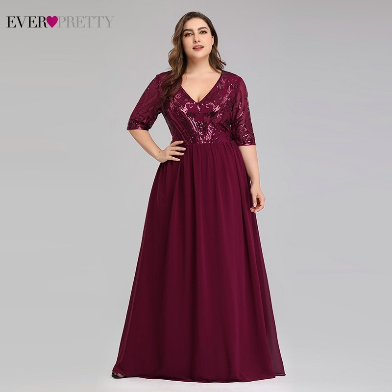 Plus Size Burgundy Mother Of The Bride Dresses Ever Pretty EP07992BD A-Line V-Neck Sequined Lace Farsali Elegant Mother Dresses