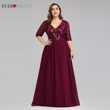 Plus Size Burgundy Mother Of The Bride Dresses Ever Pretty EP07992BD A-Line V-Neck Sequined Lace Farsali Elegant - discount item  35% OFF Wedding Party Dress