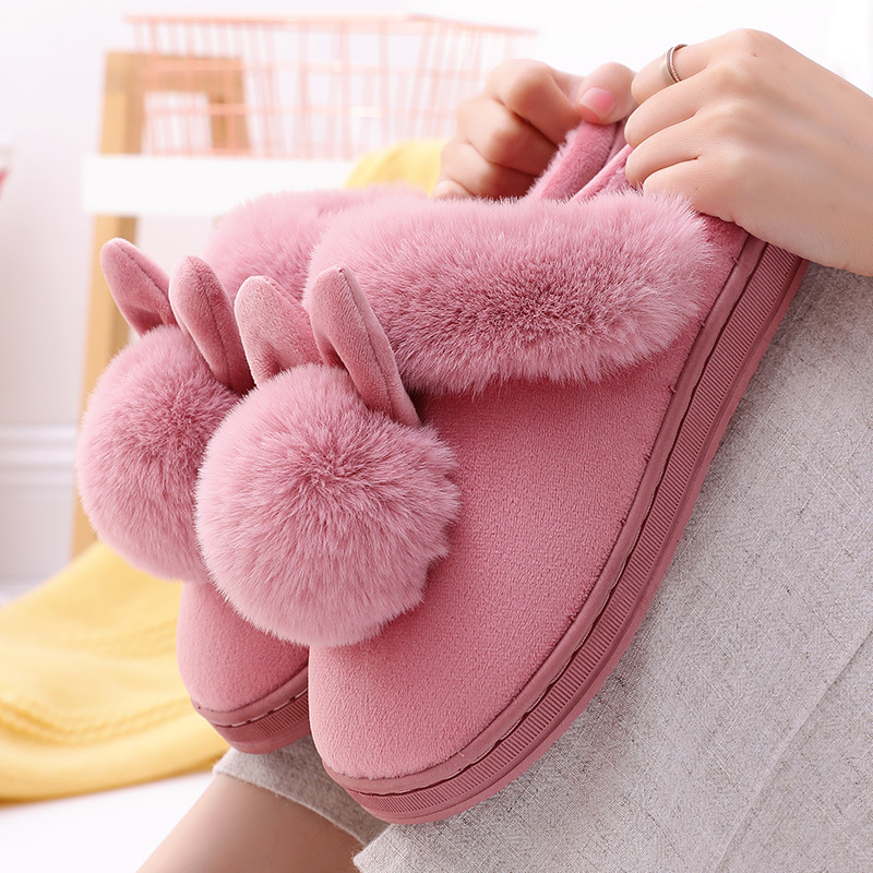 Cartoon Women Indoor Slippers With Bunny Ears