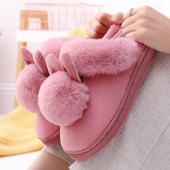 Cartoon Women Home Slippers Rabbit Ears Slip On Soft Soled Winter Warm House Shoes Women Indoor Outdoor Fur Slippers Footwear 1