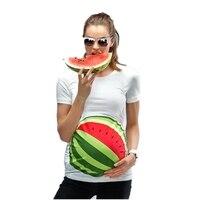 Sommer lustige t-shirt für frauen pregnent 3D print wassermelone goldfisch karikatur Europäische Größe Mutterschaft Schwangerschaft Plus Größenober