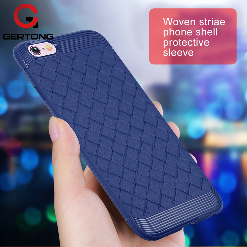 GerTong Grid Weaving Silicone Case For iPhone 8 7 6 6s Plus Cover Capa For iPhone X 8 7 Cases Phone Bag PU Leather Funda Coque