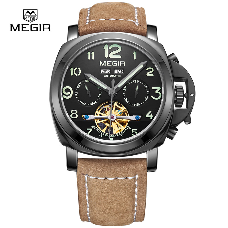 MEGIR Automatic Self-Wind Male Leather Mechanical Mens Watch Top Brand Luxury Sport Skeleton Wrist Watch relogio masculino 2016 все цены