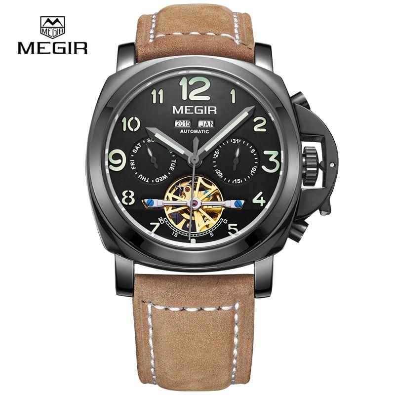 Megir Самовзводные мужские кожаные механические мужские часы лучший бренд класса люкс спортивные Скелет наручные часы Relogio masculino 2016