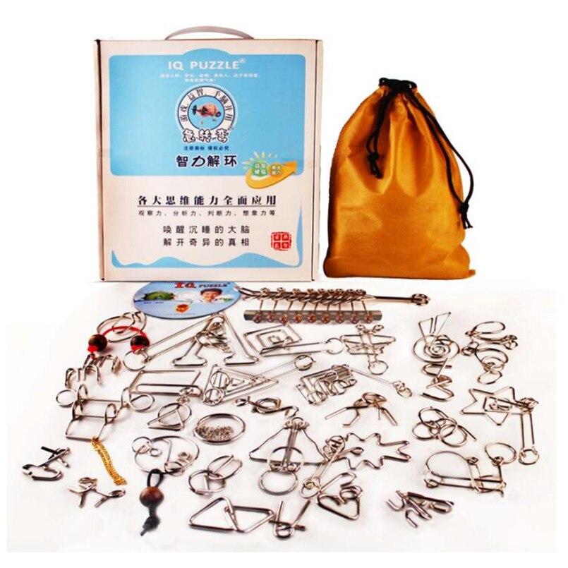 IQ Test jouets jeu d'esprit casse-tête métal fil Puzzles pour adultes enfants cadeaux, classique IQ métal Puzzle jouets éducatifs 30 pièces/ensemble