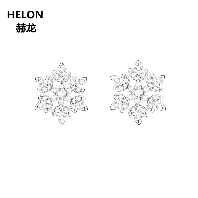 Solid 14k White Gold Women Stud Earrings Cubic Zirconia CZ Earrings Engagement Wedding Fine Jewelry Unique Snowflake sterling silver 925 plated white gold cubic zirconia 6x6mm princess cut earrings women engagement wedding fine earrings setting