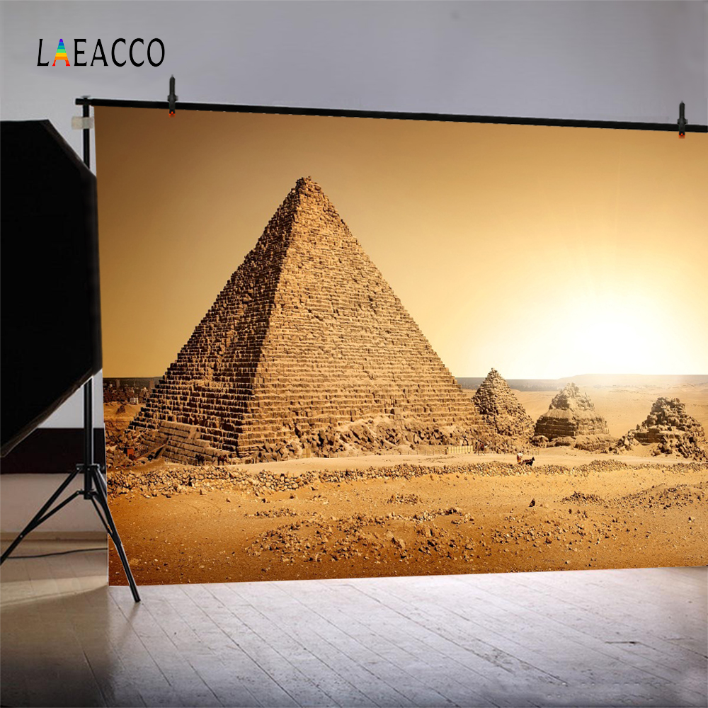 Laeacco Ancient Egyptian Pyramids Desert Scene Photography Backgrounds Customized Photographic Backdrops For Photo Studio in Background from Consumer Electronics