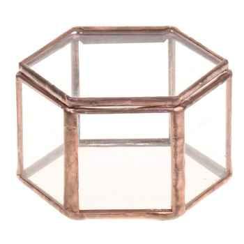 Geometryczne Szklane Terrarium Pudełko Pudełko Z Biżuterią Szkło