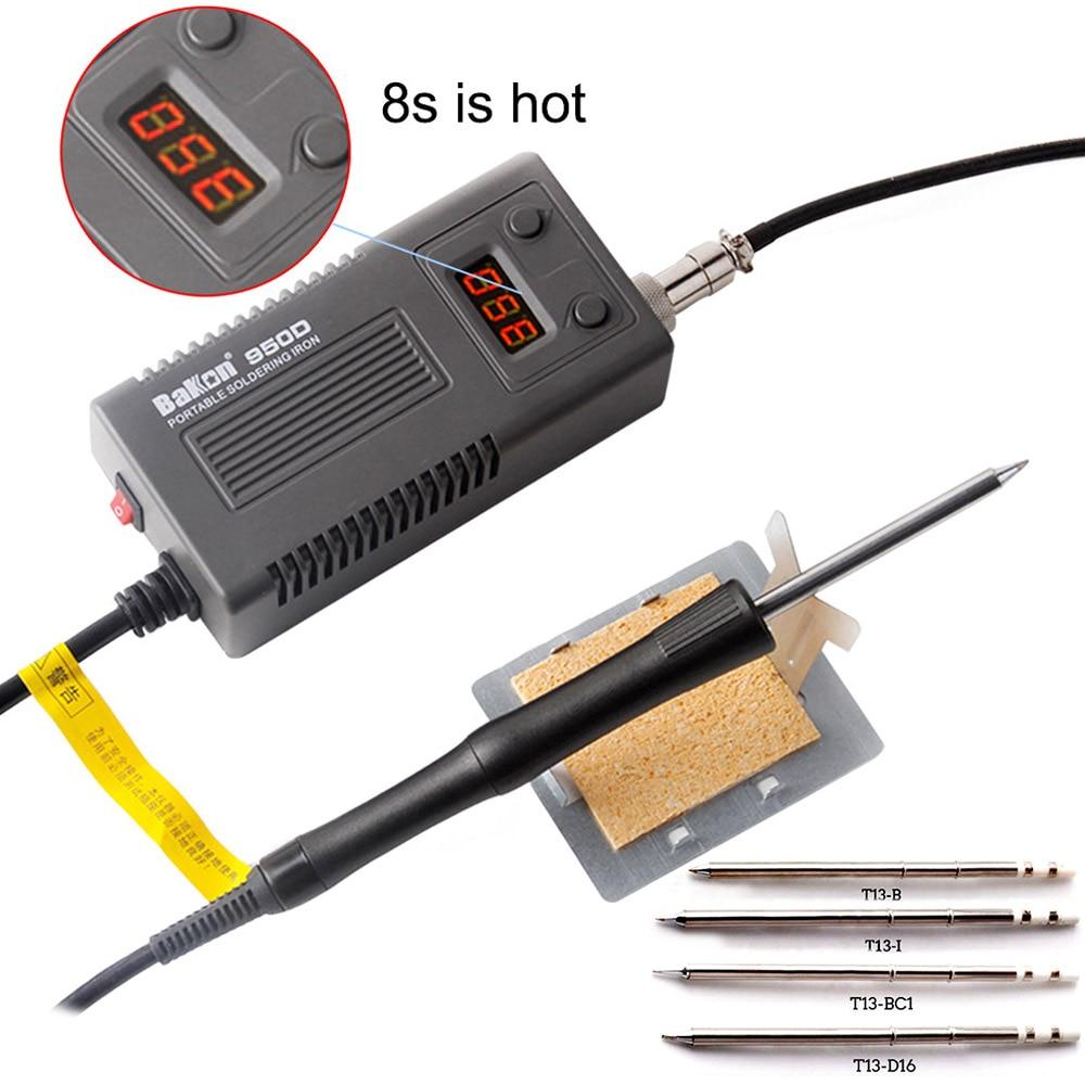 BAKON 950D Mini Portable Electric Soldering Iron Digital BGA Soldering Station T13 Head Tip 75W 110V/220V Welding Repair Tools