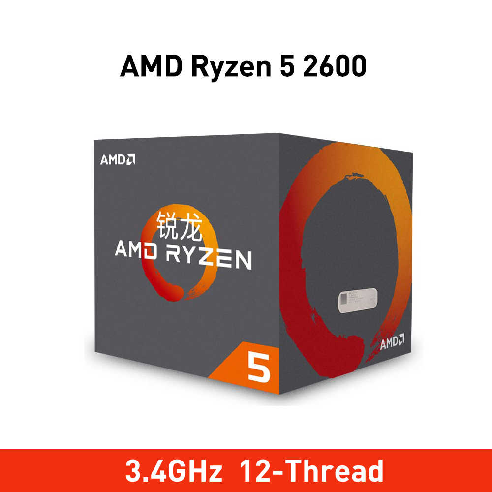 New amd ryzen 5 2600 cpu 3.4GHz Six-Core Twelve-Thread 65W TDP processador Socket AM4 Desktop pack with sealed box radiator fan