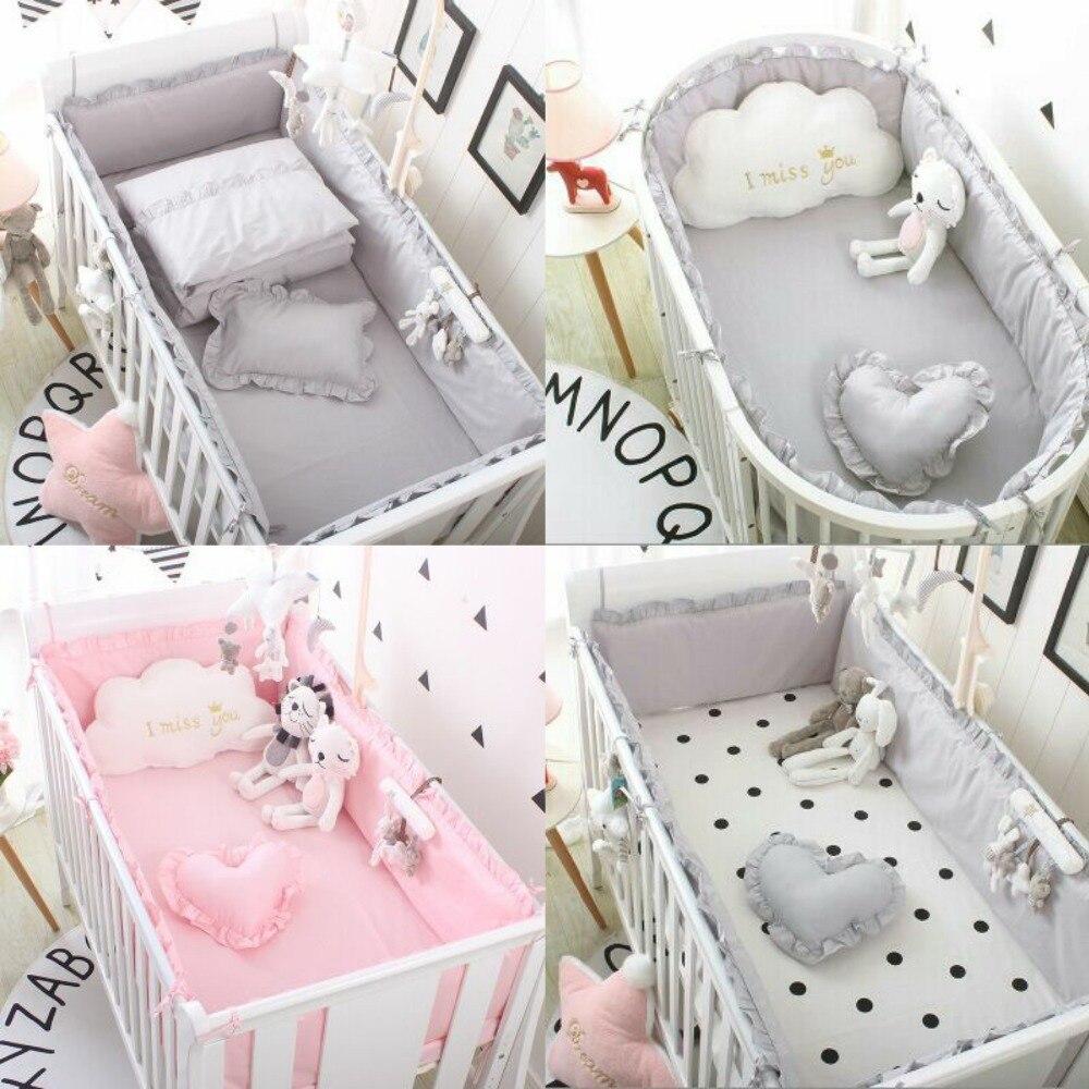 5 pièces coton respirant solide bébé berceau lit pare-chocs Collision protecteur nouveau-né lit entouré de Rails de sécurité fournitures de literie