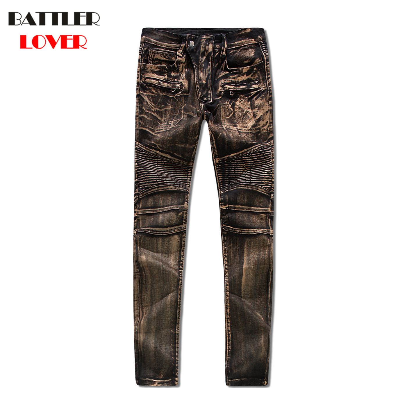 <font><b>Gold</b></font> Silver Oil Paint <font><b>Jeans</b></font> Men Fear of God Biker <font><b>Jean</b></font> Denim Trousers Mens <font><b>Jeans</b></font> Hip Hop Pant Men Casual Luxury Brand Pants 2017